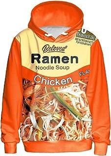 BEEFS 3D Hoodie Sweatshirt Chicken Ramen Hoodie Orange Long Sleeve Hoodie