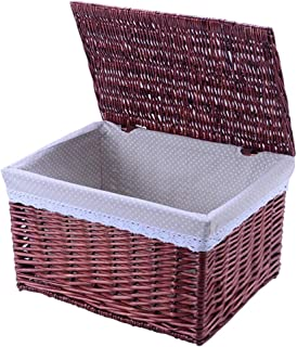 Laundry Basket With Lid and Removable Liner, Large-capacity Storage Basket, You Can Choose A Variety of Specifications, Essential for Home (Color : Red, Size : 32X20X18cm)