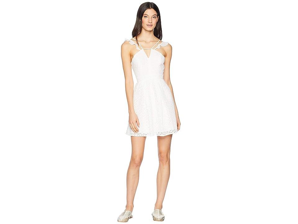 BCBGeneration Flutter Sleeve Fit Flare Dress (Optic White) Women