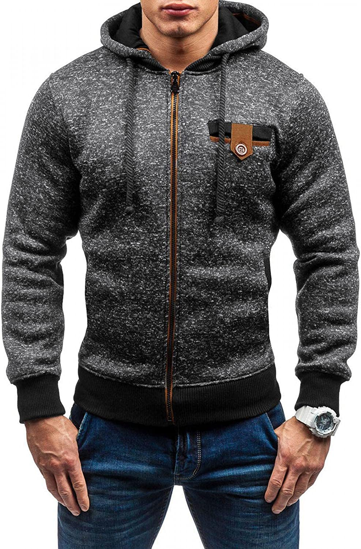 Men Hooded Sweatshirts Casual Sports Winter Warm Zip Solid Hoodies Pullover Yoga Workout Long Sleeve Tops Men's Blouses