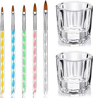 7 Herramientas de Cuidado Manicura incluye 2 Platos Vasos de Cristal de Arte de Uñas y 5 Pinceles de Uñas de Acrílico Gel ...