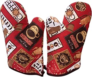 Country Style Canvas Heat Insulation Gloves/Oven Mitts/Red (2-PCS)