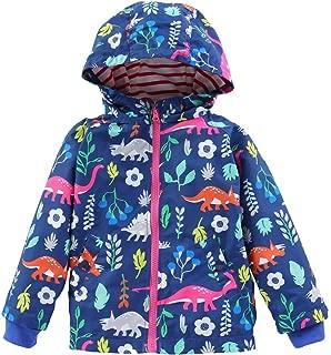 KISBINI Boys' Cartoon Dinosaur Windproof Jacket Raincoat and Rain Pant Set