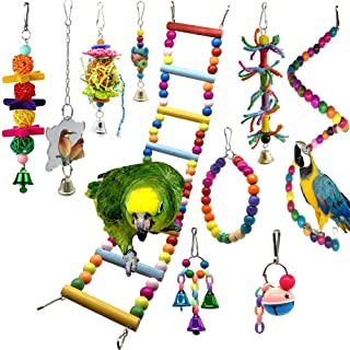 10PCS Bird Swing Chewing Toys Parrot Hammock Bell Parrot Cage Budgie Cockatiel