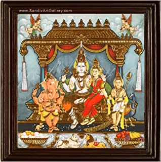 Sandiv Art Gallery Lord Shiva Family Tanjore Painting – 22 Carat Gold Foil Sivan Family Tanjore Painting – Shiva Family Ph...