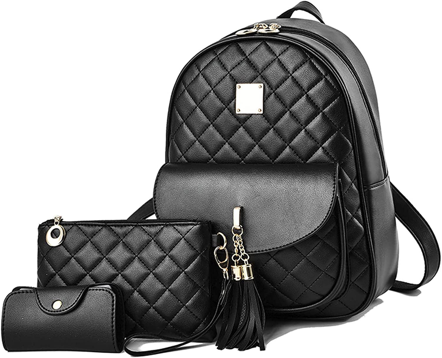 Lanpet Women's Fashion Backpack Purse 3-pieces PU Leather Shoulder Bags Ladies Travel BookbagCasual Backpack 3 in 1 Set