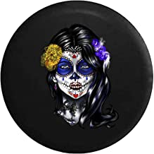 Pike Outdoors Beautiful Sugar Skull Girl Mexican Latin Tire Cover Black 32 in
