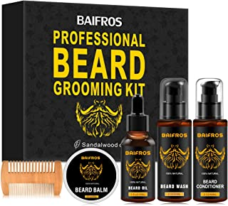 BAIFROS Beard Kit for Men Grooming & Care W/Beard Wash/Shampoo,Unscented Beard Growth Oil