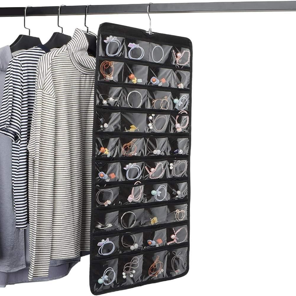 80 Pockets-Black Hanging Jewellery Organiser 80 Pockets Dual Sided Closet Organisers Foldable Storage /& Display Solution Jewellery /& Bijoux