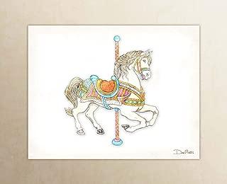 White Carousel Horse Watercolor Unframed Art Print by Dan Morris