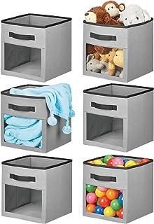 mDesign Soft Fabric Closet Storage Organizer Cube with Front View Window Bin, Storage for Baby, Kids Room, Nursery, Toy Ro...