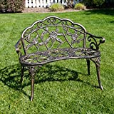 Belleze Cast Iron Antique Rose Style Design Outdoor Patio Garden Park Bench