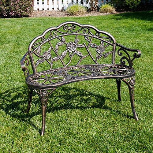 BELLEZE Antique Designed Rose Style Outdoor Patio Park Garden Bench Bronze Love Seat Cast Iron Backyard Porch Home Pool