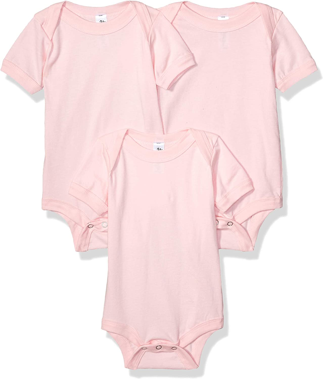 Marky G Apparel Baby Jersey Short-Sleeve One-Piece-3 Pack, Pink, 3-6 Months