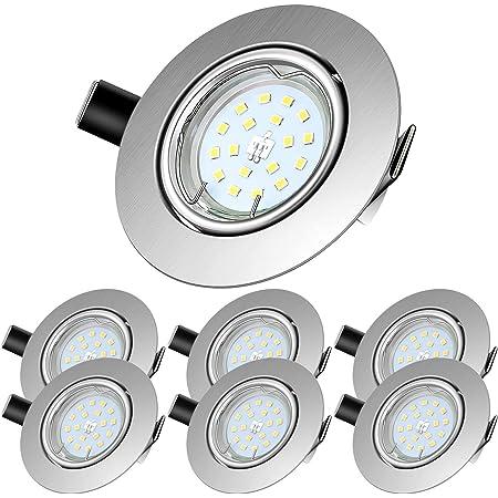 LED Spots Encastrables,Blanc Neutre 4500K,600lm Plafonnier Encastré,5W Equivalente de 60W Ampoule halogène,30°orientable,120°d'éclairage,6x GU10 Lampe de plafond,Rond Métal Nickel Non Dimmable