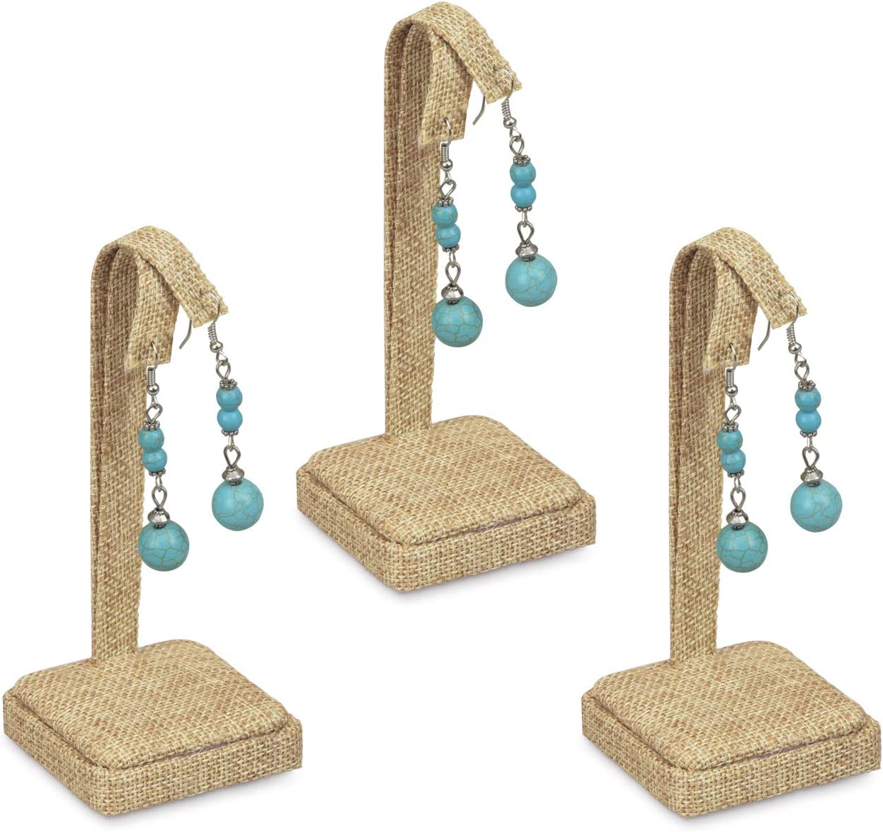 """MOOCA 3 Pcs Set Linen Jewelry Stand For Earrings Earring Holder Display Stand Earring Display, 2 1/4""""W x 2 1/4""""D x 5""""H : Clothing, Shoes & Jewelry"""