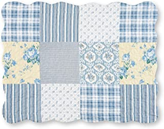 Collections Etc Allison Blue & Yellow Floral, Stripe, Check, Plaid Patchwork Bed Pillow Sham with Scalloped Edges