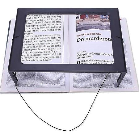3X Lesehilfe Objektiv mit 12 blendfreien freih/ändiges Leselupe dimmbaren LEDs faltbarer St/änder Low Vision Senioren Buch ideal zum Lesen von kleinen Drucken Lupe A4 Full Page Lupe