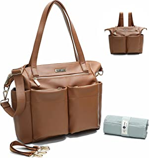 Leather Diaper Bag Backpack By Miss Fong, Baby Bag,Diaper Bag Tote,Backpack Diaper Bag With Changing Pad, In Bag Organizer, Stroller Straps, Insulated Pockets and Shoulder Strap(Brown)