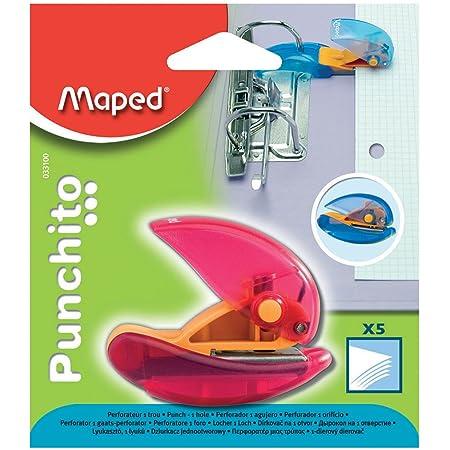 Maped - Perforatrice Punchito - Perforateur Compact Transparent 1 Trou - Avec Guide Positionnable sur les Anneaux des Classeurs - Couleur Aléatoire