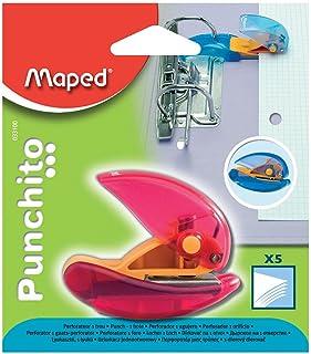 Maped - Perforatrice Punchito - Perforateur Compact Transparent 1 Trou - Avec Guide Positionnable sur les Anneaux des Clas...