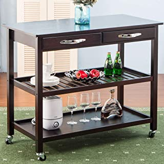 LZ LEISURE ZONE Kitchen Cart Rolling Island Wood Countertop,2 Spacious Drawers and Lockable Wheels