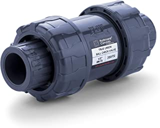 HYDROSEAL Sharkfellow 1/2'' PVC True Union Ball Check Valve with Full Port, ASTM F1970, with EPDM Seals, Corrosion-Free, Service Free, Rated at 200 PSI @73F, Gray, 1/2 inch Socket (1/2'')