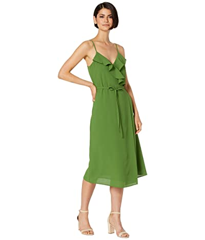 1.STATE Spaghetti Strap Flounce Wrap Dress (Palm Leaf) Women