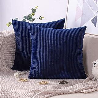 IUYJVR Pack van 2 kussenslopen zachte Corduroy effen kleur decoratieve kussensloop slaapkamer kussenhoes sofa auto bed 45 ...
