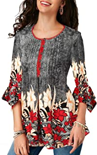 Twippo Women Top Shirt Blouse 3/4 Flare Sleeve Floral Tunic Plus Size S-5XL