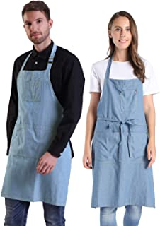BIGHAS Adjustable Soft Denim Apron with 4 Pockets Extra Long Ties for Women Men Chef, Cooking Kitchen Gardening Cafe 5 Colors (2#)