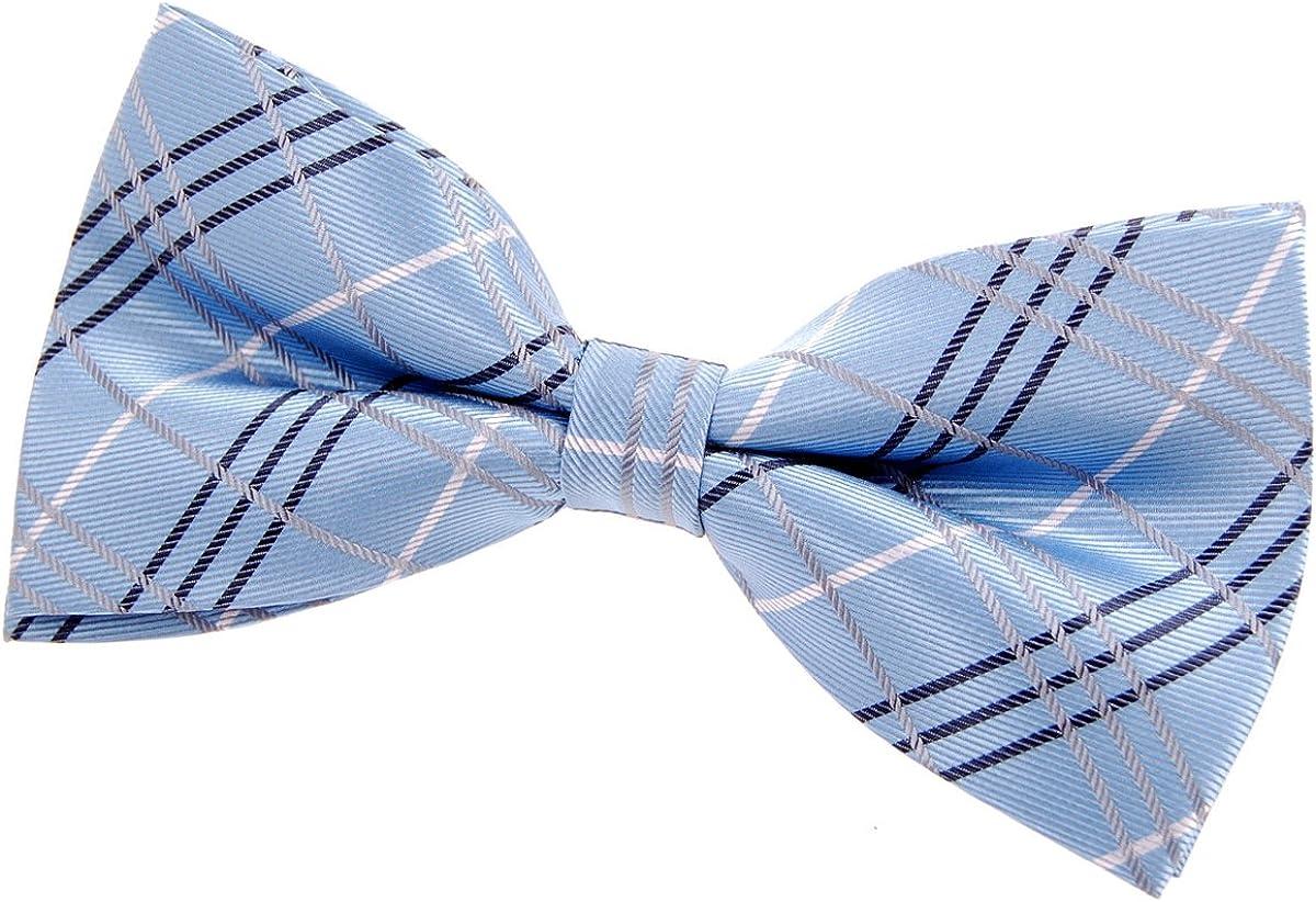 Tartan Plaid Patterns Woven Microfiber Pre-tied Boys Tie