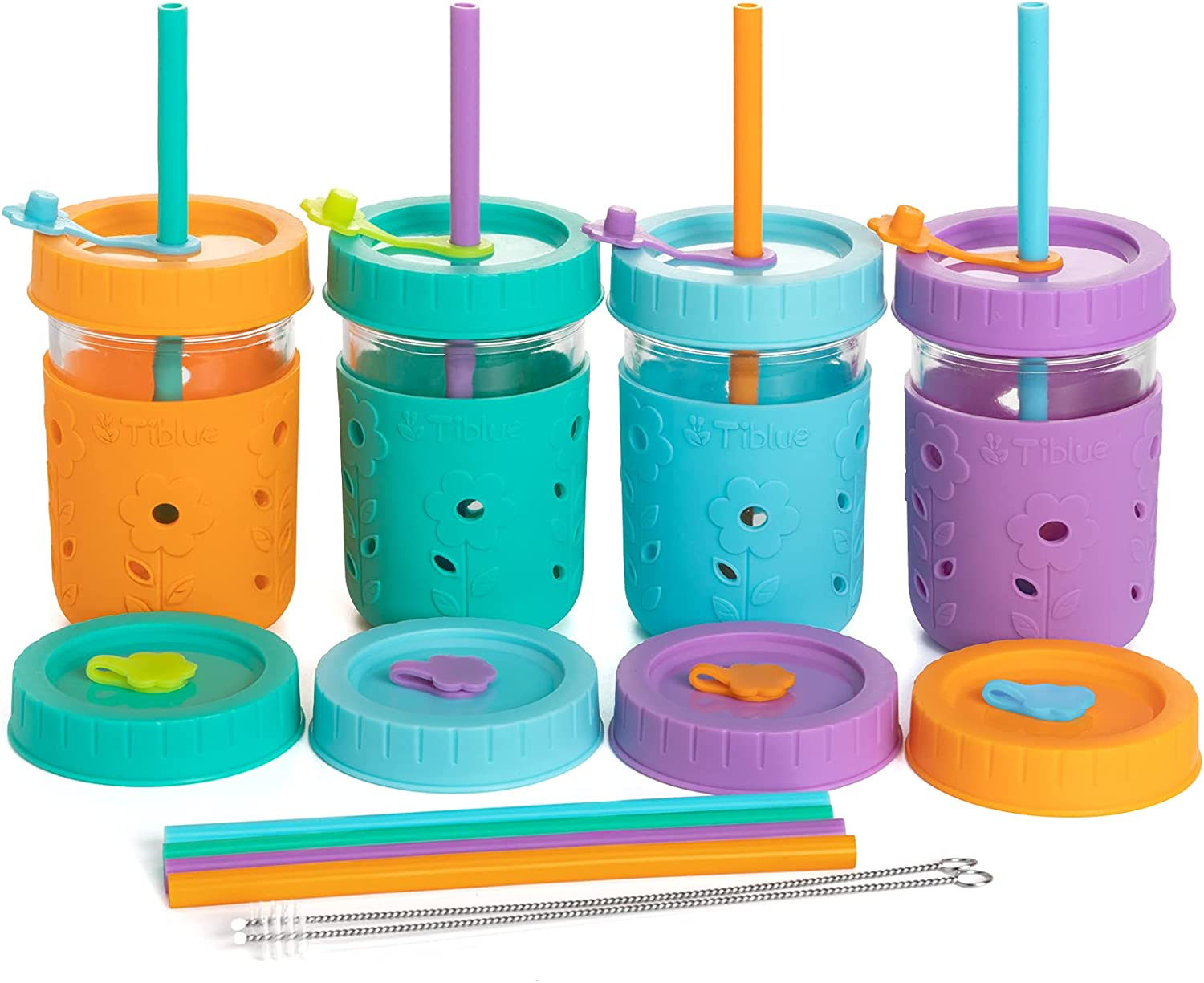 4 Pack Kids & Toddler Cups - 8 OZ Glass Mason Jars Spill Proof Snack Smoothie Cups with Leak Proof Regular Lids & Silicone Straws, Sleeves, Stoppers - BPA FREE Baby Cup Kid Tumbler for Drinking