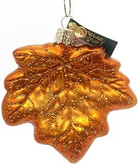 Old World Christmas Maple Leaf Glass Fall Autumn Brilliant Colors 48022 Orange