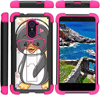 TurtleArmor | Compatible with ZTE Imperial Max Case | Max Duo | Grand X Max 2 [Grip Combat] Rugged Impact Dual Resistant Armor Kickstand Defender Case Pink Designs - Cute Penguin