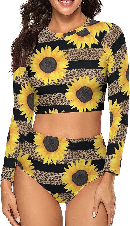 Tvsuh-u Womens Bathing Suit 2 PCS Sunflowers Leopard Stripes Long Sleeve Rash Guard Swimsuits