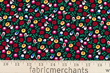 Fabric Merchants Corduroy Floral Fabric by The Yard, Black/Red/Green 3 Yards