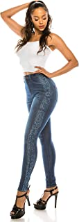 Aphrodite High Waisted Jeans for Women - High Rise Waist Skinny Womens Washed Jeans with Faux Front Pockets and Snake Outseam 4670 (Made in USA) Medium Blue 1