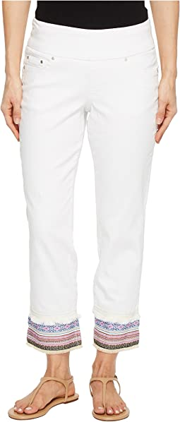 Jag Jeans - Peri Straight Pull-On Ankle Jeans w/ Embroidery