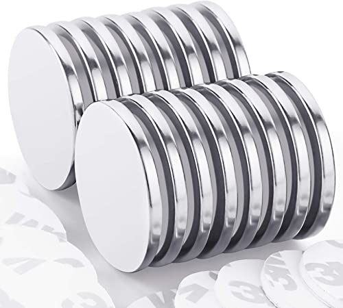 Strong Neodymium Disc Magnets with Double-Sided Adhesive, Powerful Permanent Rare Earth Magnets for Fridge, DIY, Buil...