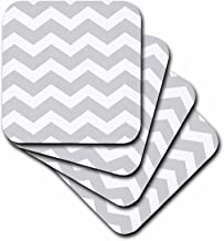 3dRose cst_179674_1 Light Grey and White Zig Zag Chevron Pattern. Gray Silver Zigzags-Soft Coasters, Set of 4