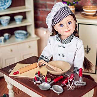 Doll Clothes Outfit and 11 Pc Kitchen Tool & Baking Set Accessories Compatible With 18 inch American Girl! Clothing Set & Shoes, Bowl, 5 piece Utensil Set, 3 Cookie Cutters, Wooden Board & Rolling Pin