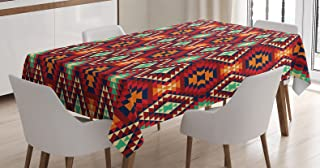 Ambesonne Tribal Tablecloth, Geometric Triangle Motif Zig Zag Folk Art Style Print, Rectangular Table Cover for Dining Room Kitchen Decor, 60