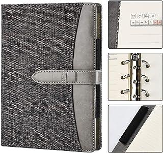SEEALLDE Cuaderno de Lino A5 Cuaderno Recargable de Calidad