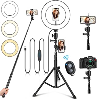 """10"""" Ring Light with Stand and Phone Holder, Selfie Ring Light with Tripod Stand, Dimmable LED Ring Light Desktop Selfie Light Ring Led Camera Ringlight for Live Stream/Makeup/YouTube/TikTok"""