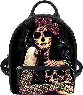 Wrail Cool Damen Rucksack Kleiner Rucksack Totenkopf Rose Blumen Skull PU Leder Rucksack Schultasche Casual Daypack Schulrucksäcke Stil1 EINE Size