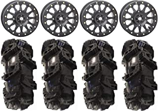 "Bundle - 9 Items: STI HD A1 Beadlock 15"" Wheels Bk 33"" Silverback MT2 Tires [4x156 Bolt Pattern 3/8x24 Lug Kit]"