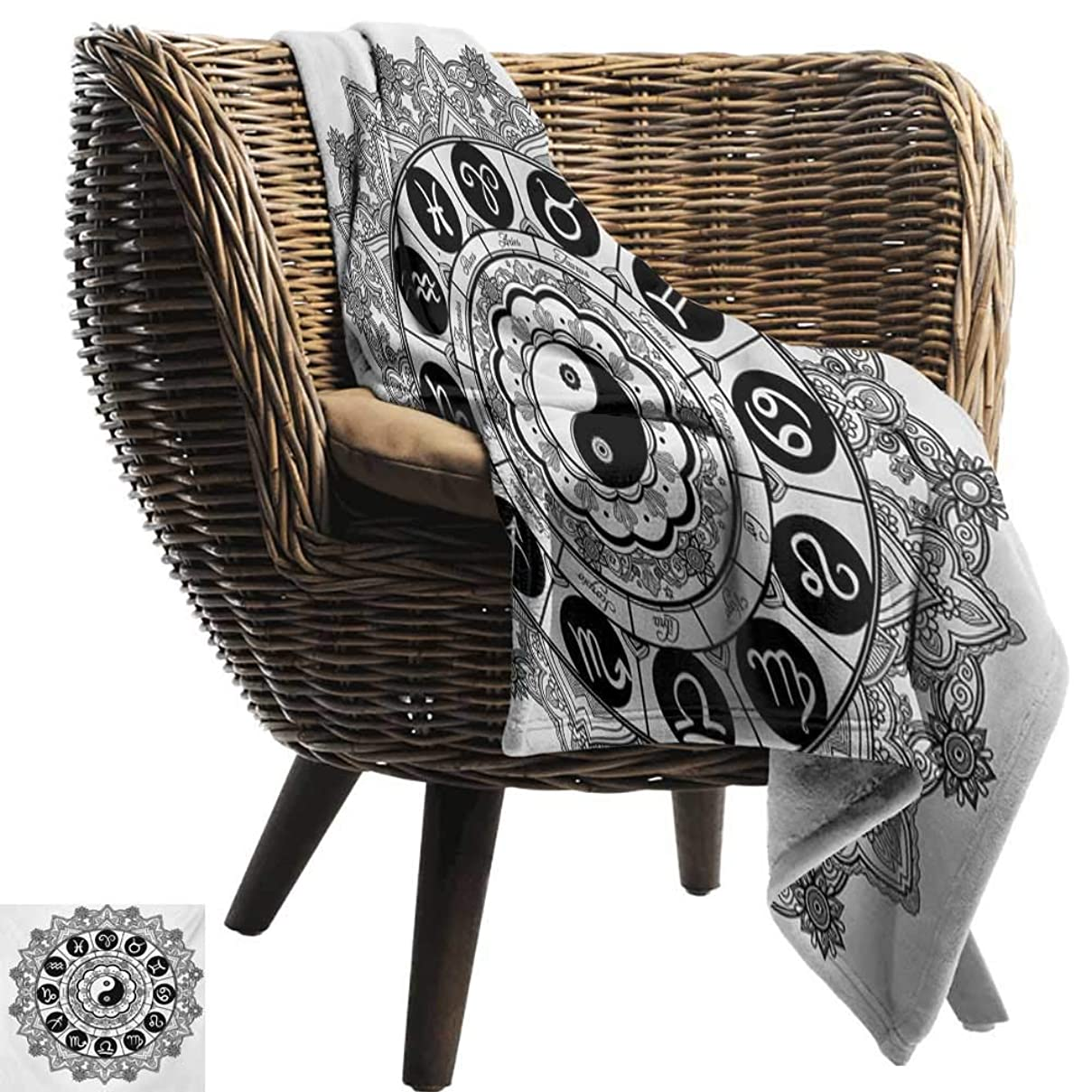 BelleAckerman Flannel Throw Blanket,Ying Yang,Round Zodiac Theme Design with Yin Yang Symbol in Centre Astrology Signs Print,Black White,Winter Luxury Plush Microfiber Fabric 50