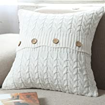 """NVEOP Cotton Knitted Cushion Cover, Soft & Cozy Decorative Cushion Cover Case for 20""""x 20"""" Throw Pillow(Cover Only, Grey) White COVER-KNIT-6"""