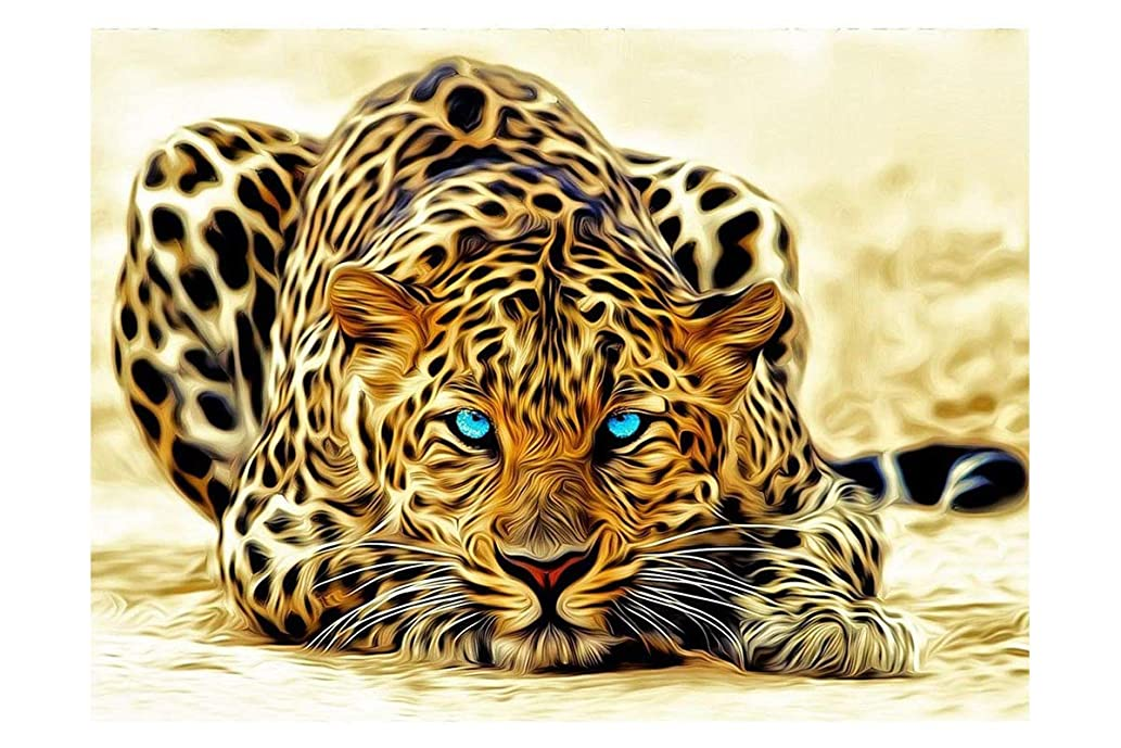 Mobicus 5D DIY Diamond Painting by Number Kits,Leopard(12X16inch/30X40CM)